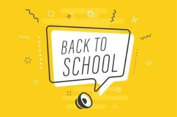 Back to school illustration on a yellow background