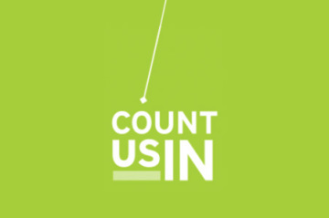 Count Us In logo on bright green background
